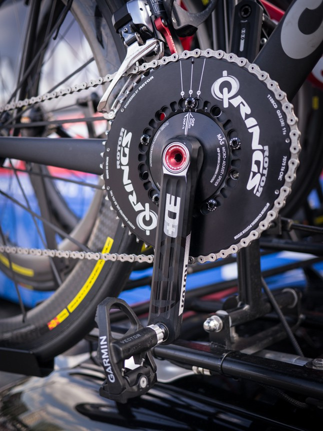 Rotor Q Rings on the Cervelo spare bikes. Notice the Garmin Vector pedals without the pods. New design? Or are they simply not using the power functionality?