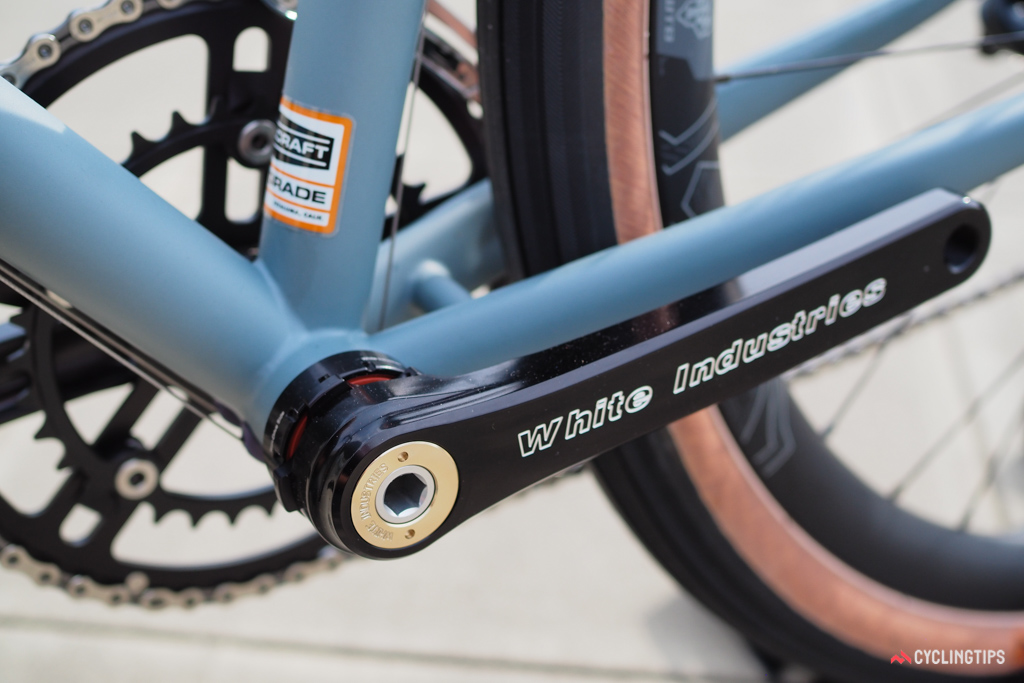 Despite the throwback look, the White Industries crankset uses external bearing cups.