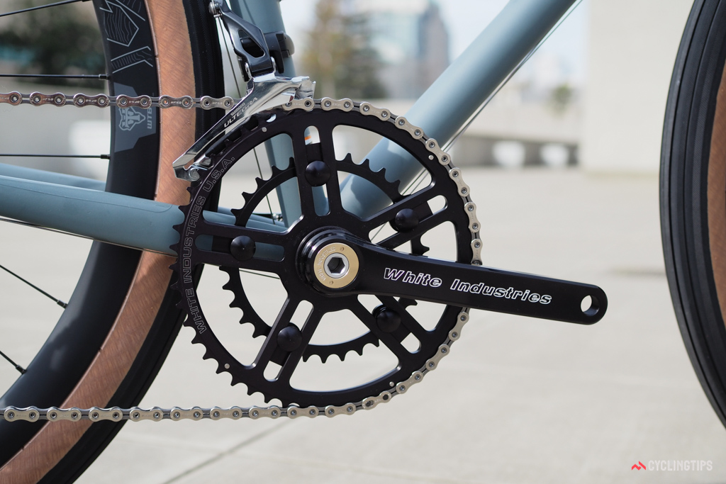 White Industries cranks are another favorite of the handbuilt crowd for their classic aesthetic.
