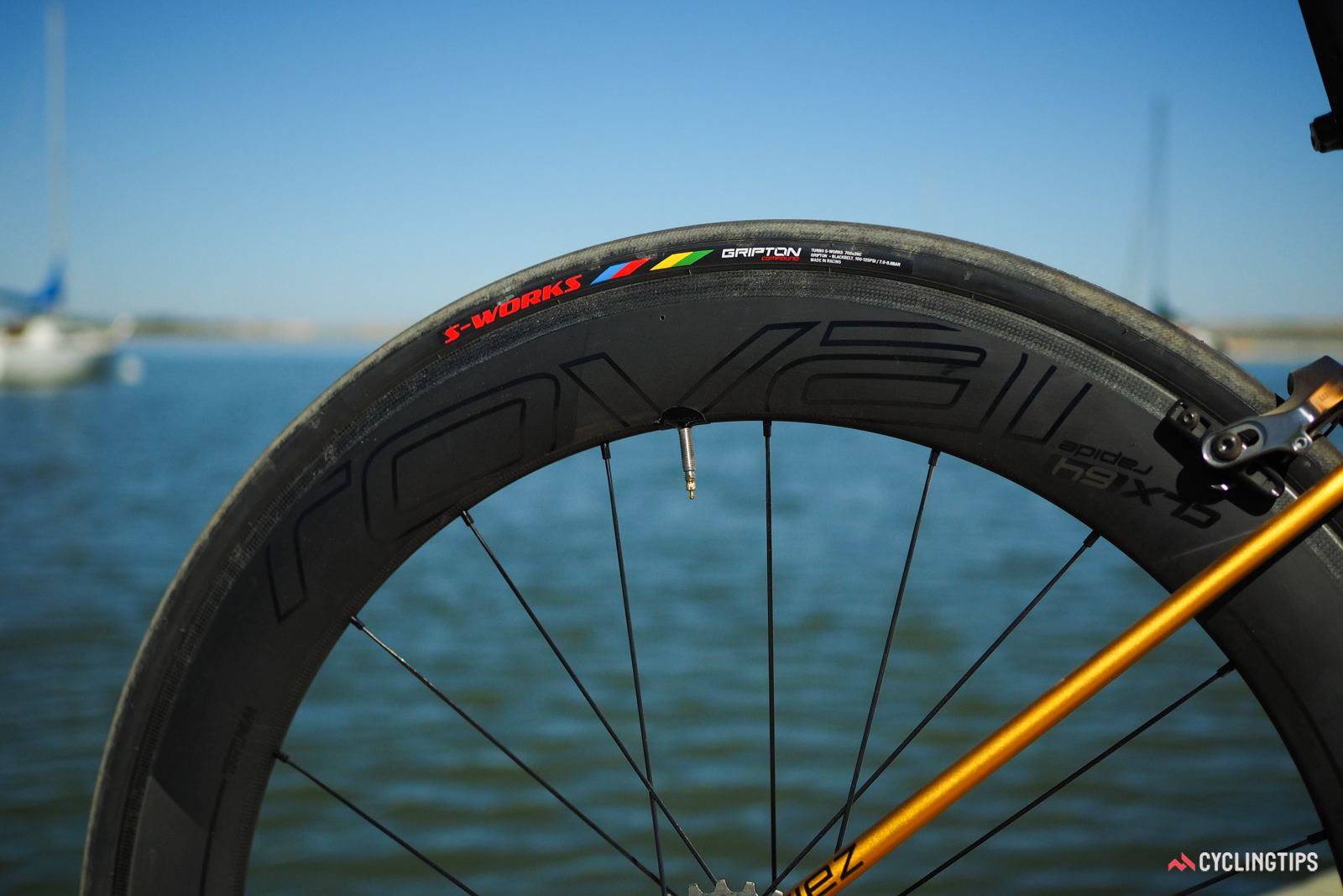 The included Roval Rapide CLX 64 carbon clincher wheels are plenty fast and reasonably stable in crosswinds. The S-Works tires are flat-out excellent, with extremely low rolling resistance and outstanding grip. They're quite fragile, though.