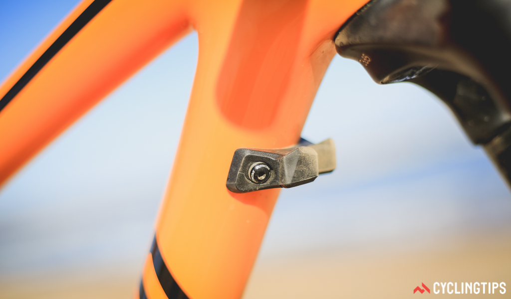 A close up of the bumper designed to protect the downtube