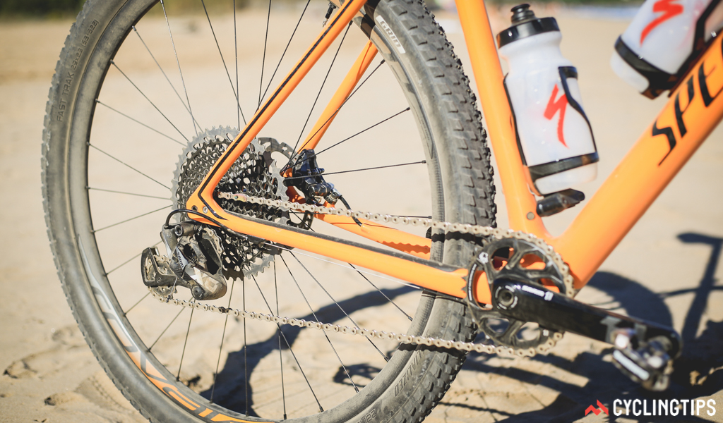 SRAM's new 12-speed Eagle featured on the Epic test rig. With a 50T big cog, the available range was impressive