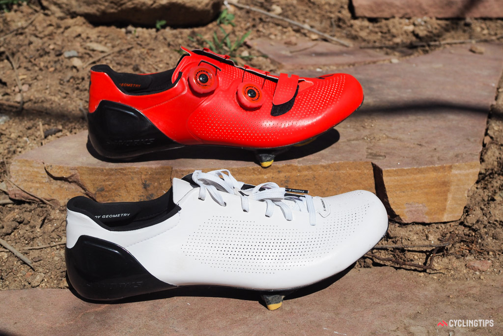 Specialized now has two S-Works road shoe models: the standard S-Works 6 (top) and the lace-up S-Works Sub6 (bottom). They're similar in many ways but different in others.