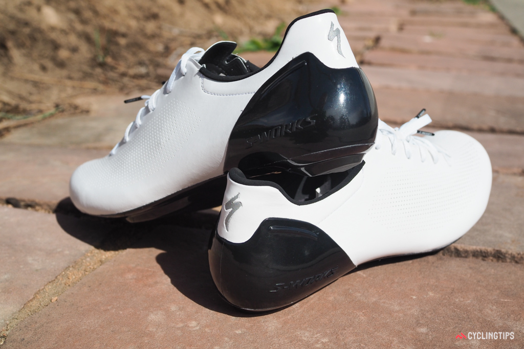 The aggressive fit of Specialized's 'PadLock' heel counter is perhaps the most polarizing aspect of the shoes, pinching down tightly around the base of your Achilles tendon.