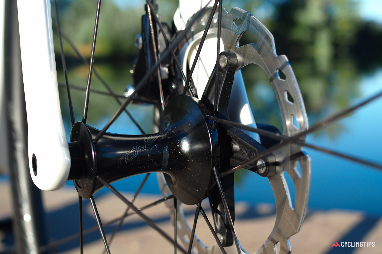 The Roval front hub is admirably sleek. The rotor? Not so much.