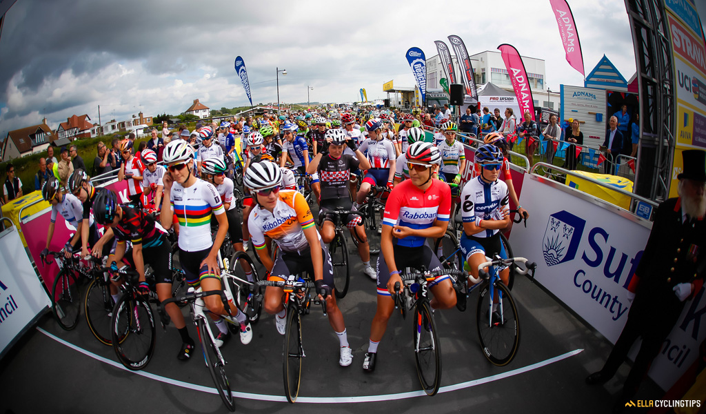 Seconds before the 2016 Aviva Women's Tour is about to start. The national champions and former winners of this race have lined up at the front.