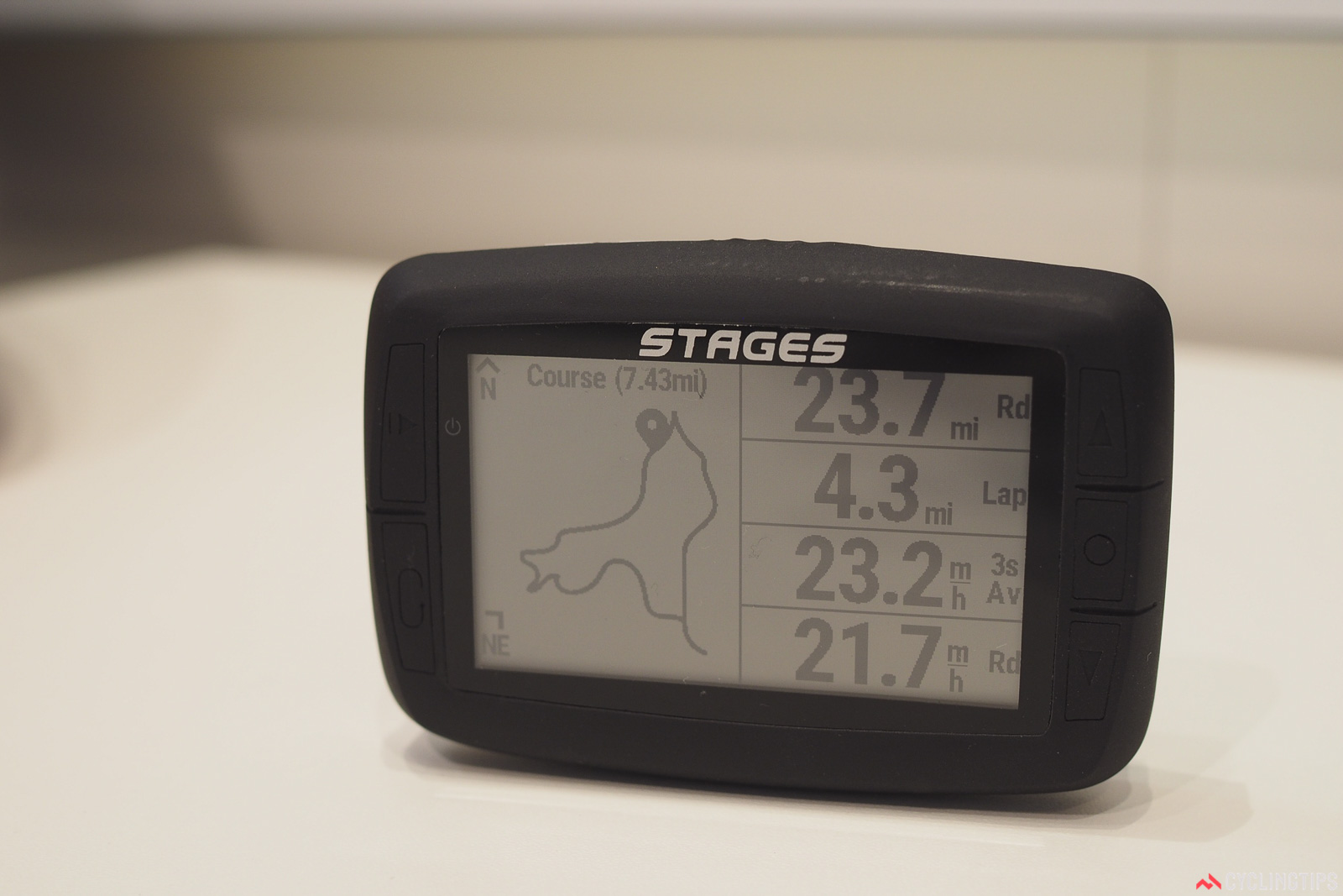 Stages Cycling's new GPS-enabled Dash computer head is a surprise entry from the power meter specialist. The black-and-white screen is big and crisp, and the display is highly customizable. It can even be set up in portrait or landscape modes, with multiple on-board profiles to keep all your display settings at the ready. Photo: James Huang.