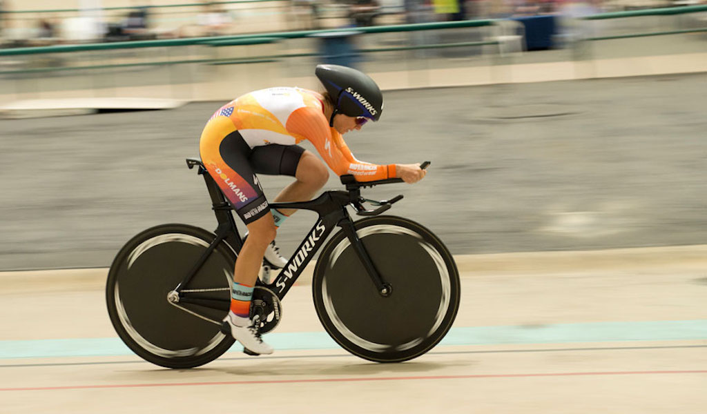 Evelyn Stevens, during the final 15 minutes of her record-setting ride. Photo: Casey B. Gibson.