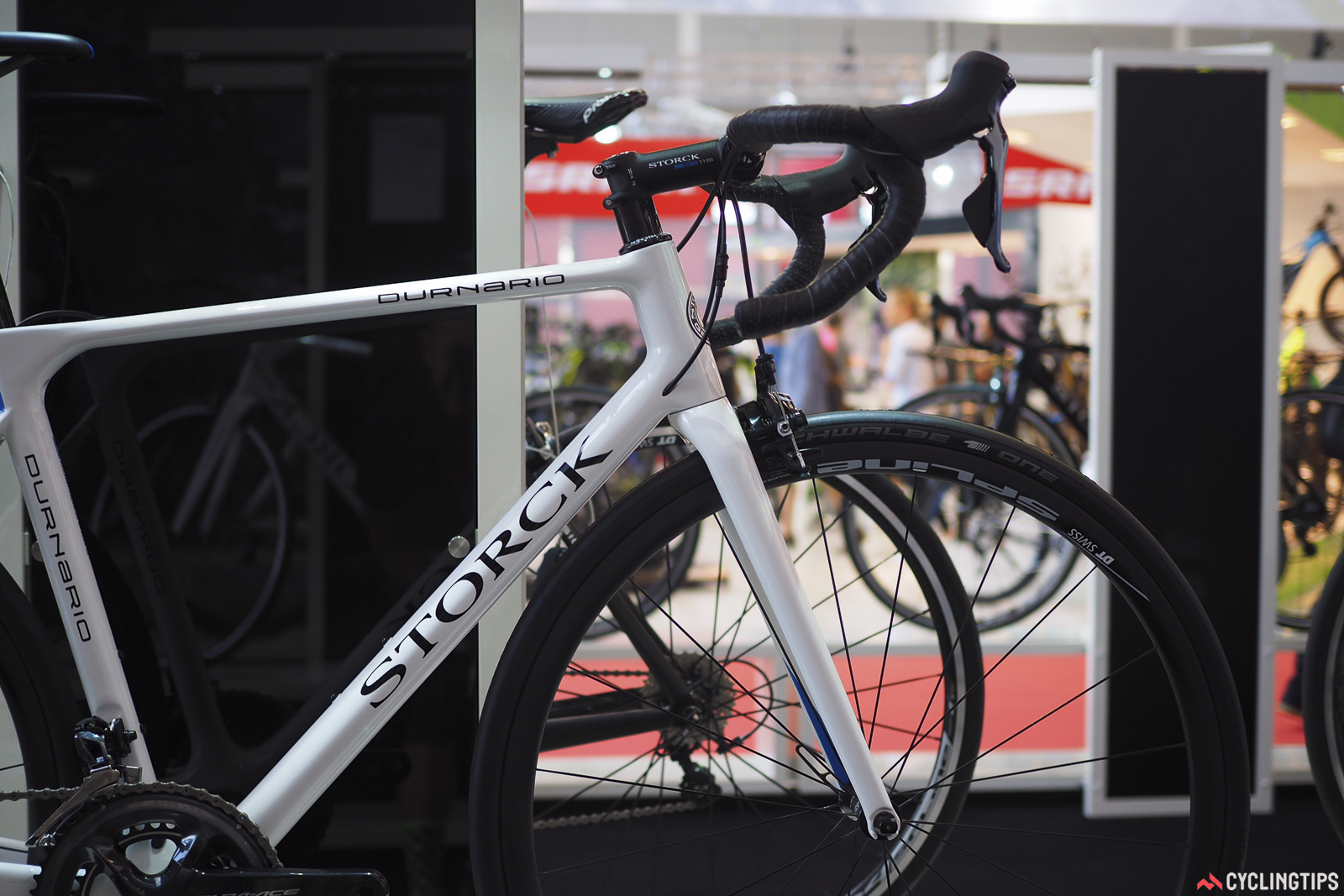 The top tube of the new Storck Durnario is notably flat, and the fork blades are slimmed down as well. Both should help the frame flex a bit over bumps. Photo: James Huang.