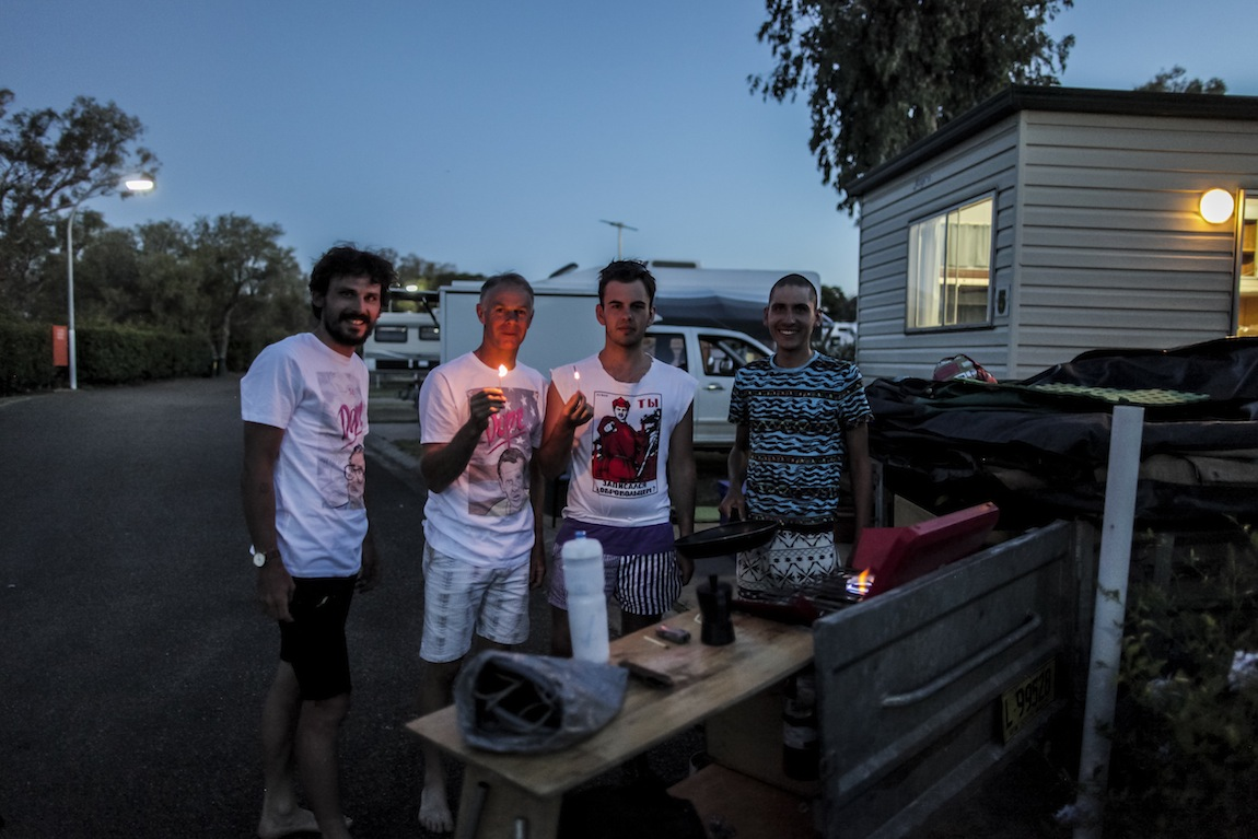From left to right: Gus, support crew member/driver Chris Varcoe, producer/photographer Scott Mitchell and Lachlan.