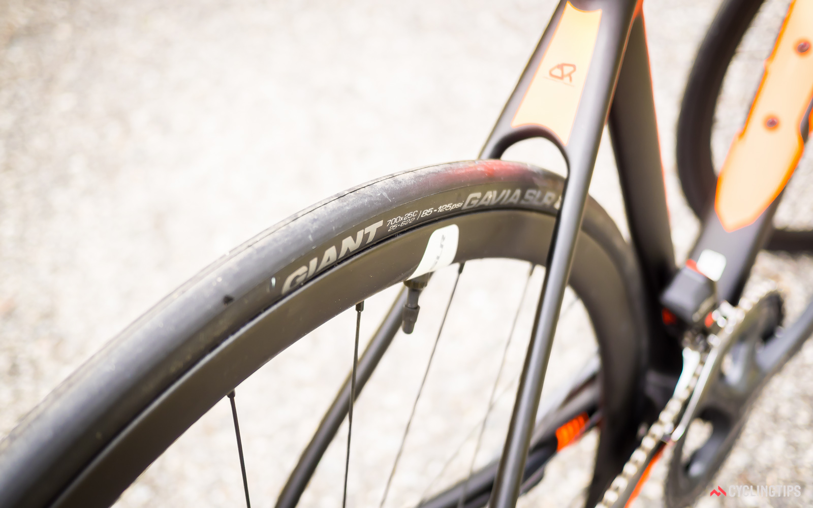 Giant's new Gavia tyres are tubeless ready so the wheels are supplied with a full tubeless setup including sealant.