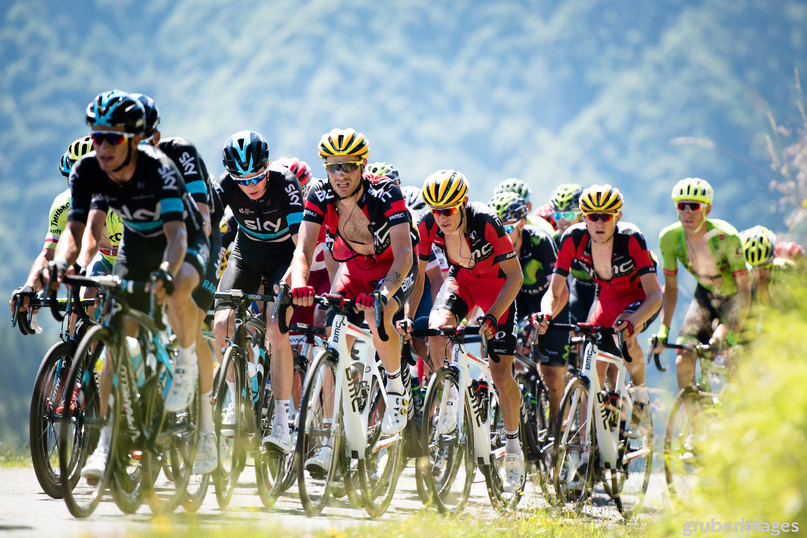 On Stage 8 of the 2016 Tour de France, the BMC Racing duo of Richie Porte and Tejay van Garderen finished in the chase group behind Chris Froome (Team Sky). Photo: Gruber Images