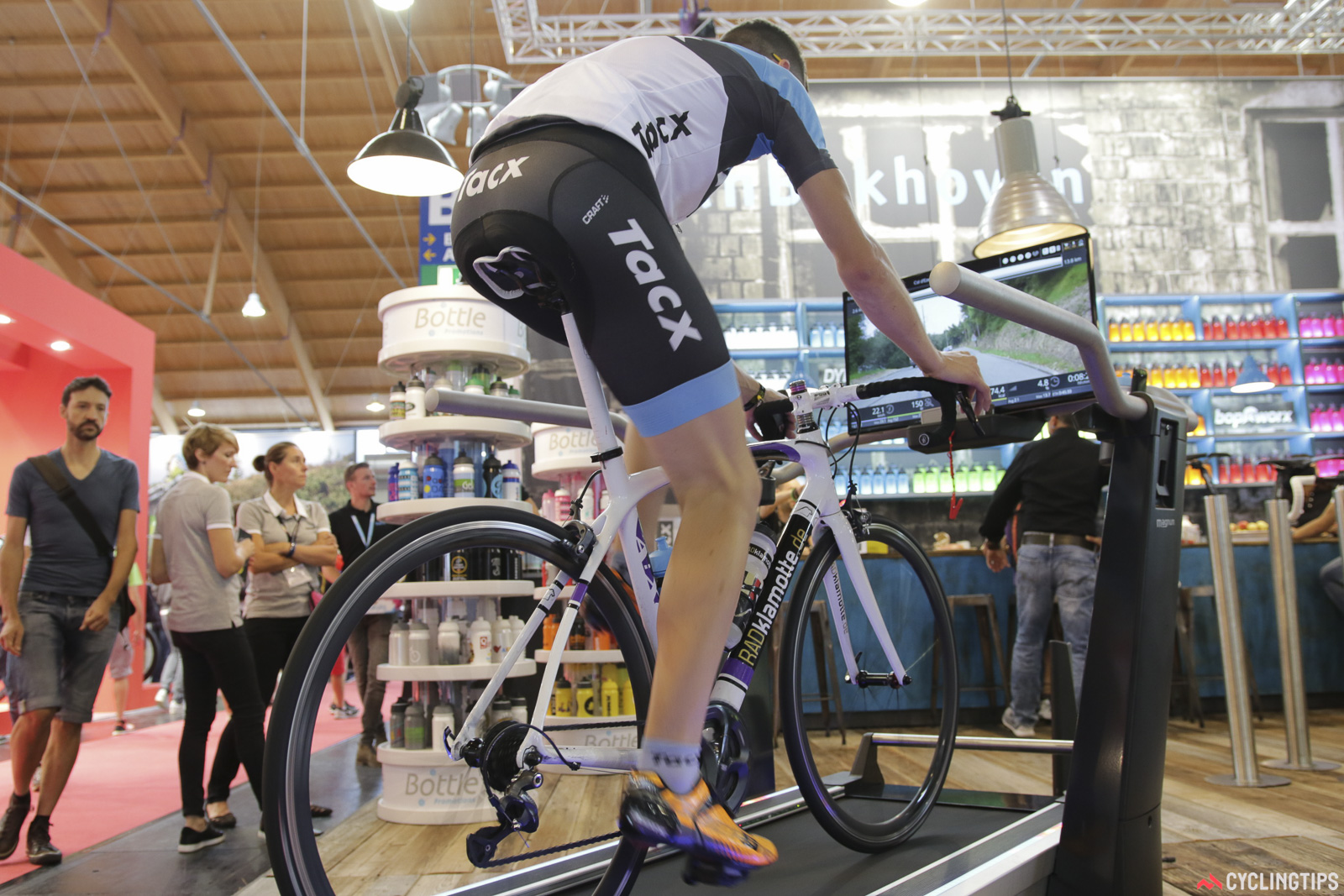 Tacx has this new interactive indoor trainer. Riding it looks like a walk in the park (or gym). Photo: David Rome.