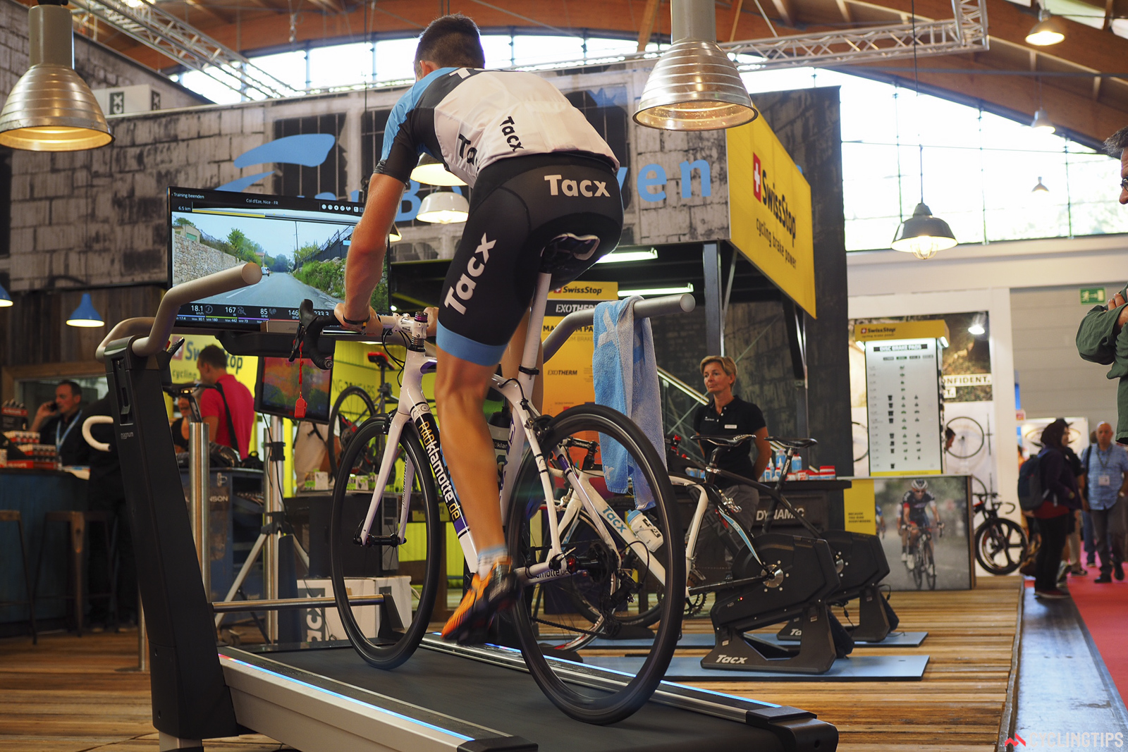 The latest trainer from Tacx still isn't the same as riding outdoors, but it's getting closer. And yes, it's essentially a treadmill for your bike. Photo: James Huang.