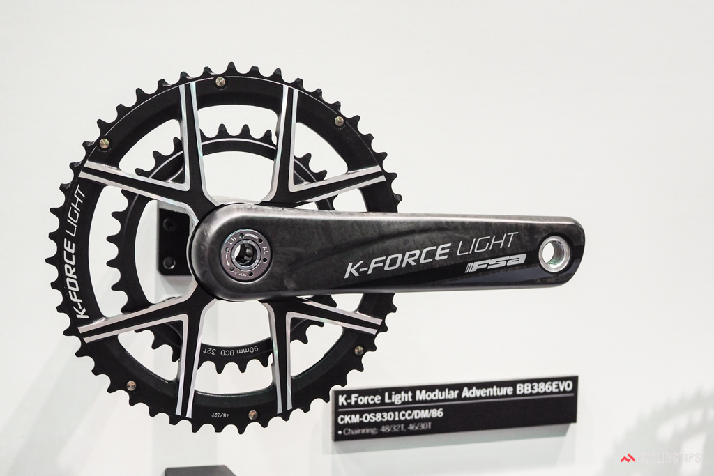 FSA's new modular K-Force Light can be fitted with 48/32T or 46/30T chainrings for gravel and adventure riding.