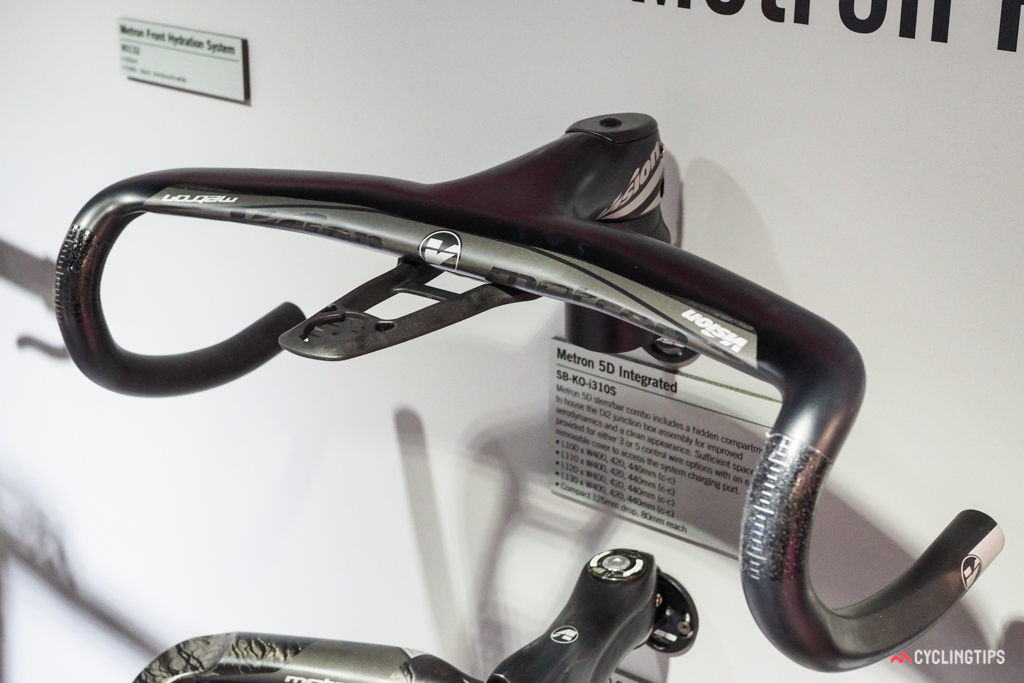 FSA sister brand Vision launched the new Metron 5D Integrated cockpit, complete with a hidden compartment underneath the stem for Shimano Di2 or Campagnolo EPS junction boxes and a bolt-on mount for Garmin computers.