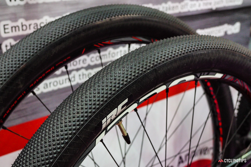 IRC showed off a prototype mountain bike tire specifically designed for racing on sand, which is popular in certain regions in Europe. This particular example is a little bigger than most Road Plus tires but the 'cross-like tread might still work well on dirt in a downsized version.