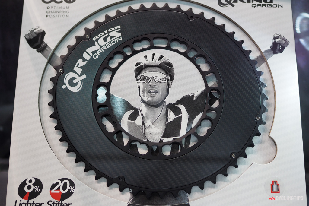 Rotor claims its carbon fibre-backed Q-Ring Carbon is 8% lighter than the standard all-aluminium version and 20% stiffer for improved shifting performance.