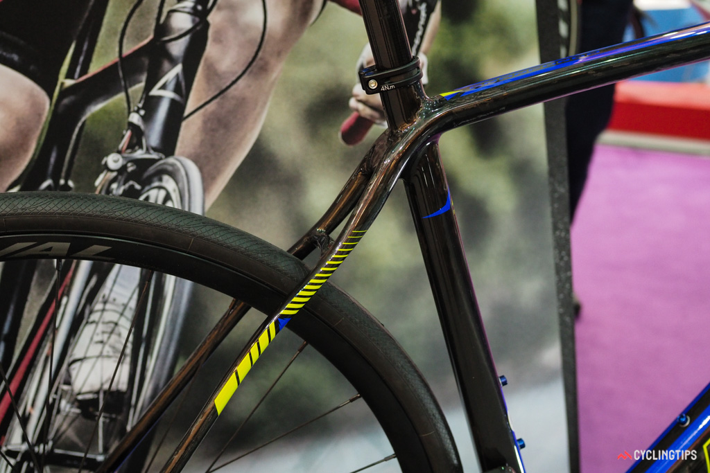 The kink in the seatstays supposedly helps attentuate road vibration, too.