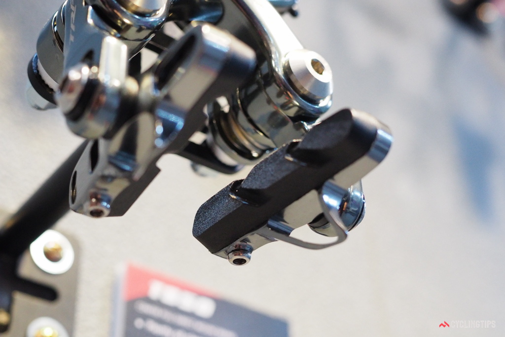 Details matter. All of TRP's new direct-mount rim brakes feature cartrdge-style pad holders with bottom-entry retaining bolts.