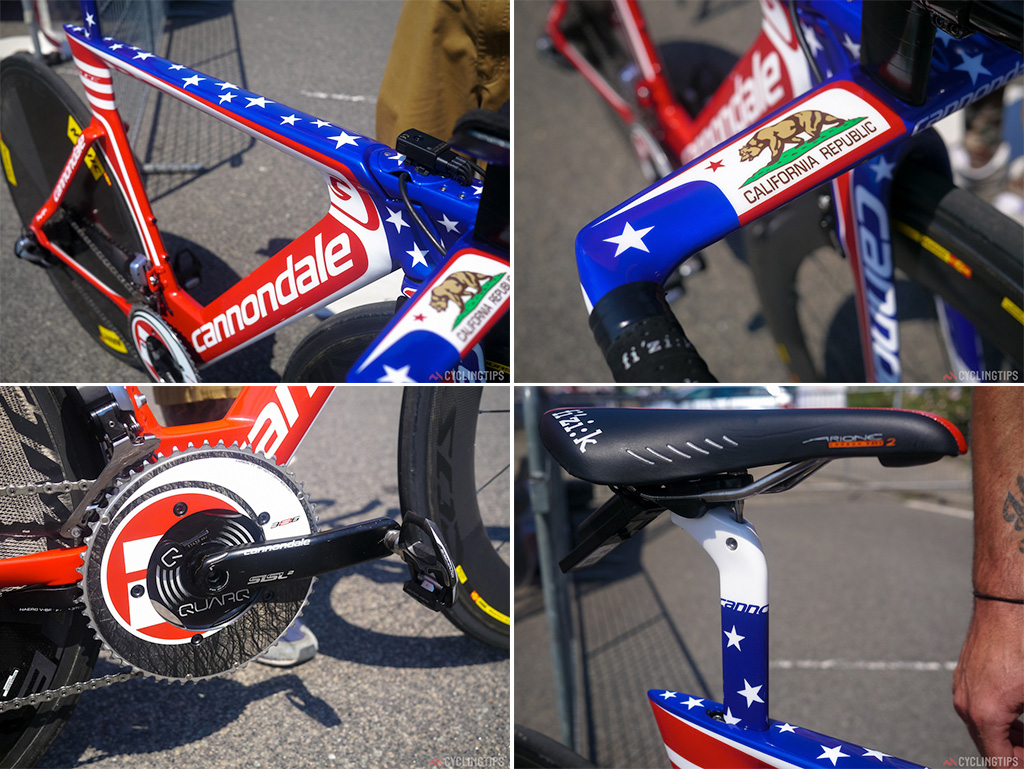Even the seatpost has had a make over to match the national champion's jersey and kit.