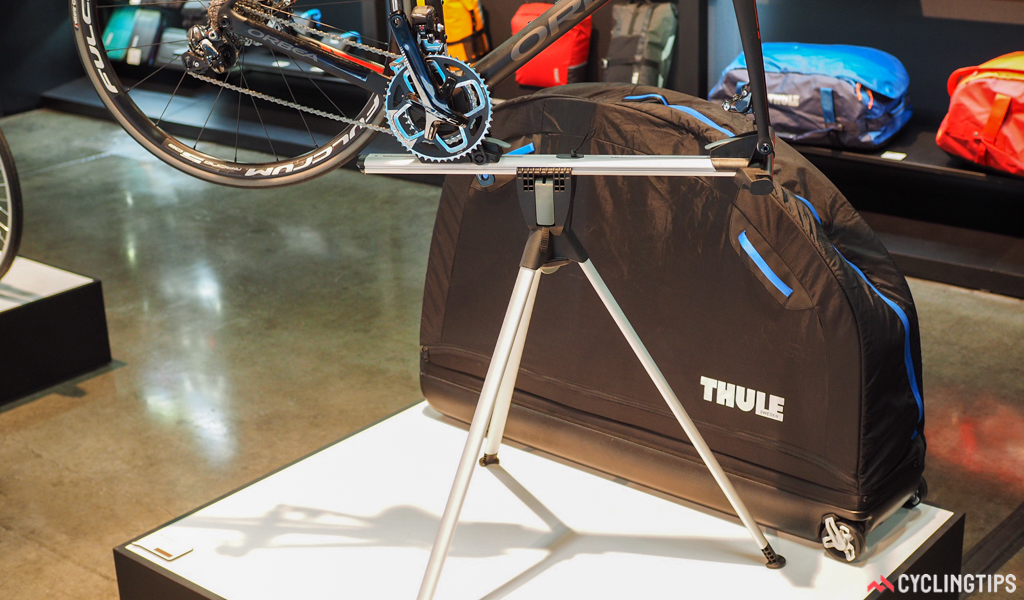 This Thule bike travel case isn't new, but it's still an ingenious design. The base to which the bike anchors when it's inside the case doubles as a portable repair stand to make assembly and disassembly a piece of cake.