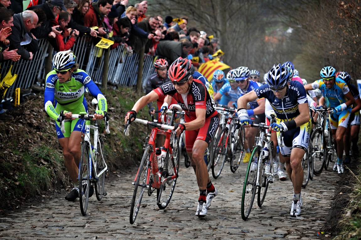 We've seen riders walk up the Koppenberg many times in the past. It's not that it's an extremely steep climb, but rather the cobbles and technical nature of negotiating the roughness and steepness at the same time. The climb is only 600m long with an average gradient of 11% (max 22%). In pre-2012 editions of Flanders, strategically, the Koppenberg had little importance: it was too far from the finish (70-80km). Even if a breakaway forms on the Koppenberg it is difficult for riders to hold off the peloton. But in 2012 the changes to the course made the Koppenberg only 60km from the finish which made the climb more decisive.