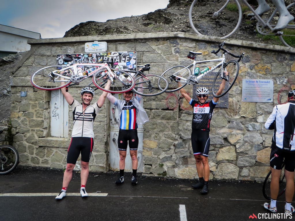 Bikes on. We all made it to the peak of Tourmalet. Great group o