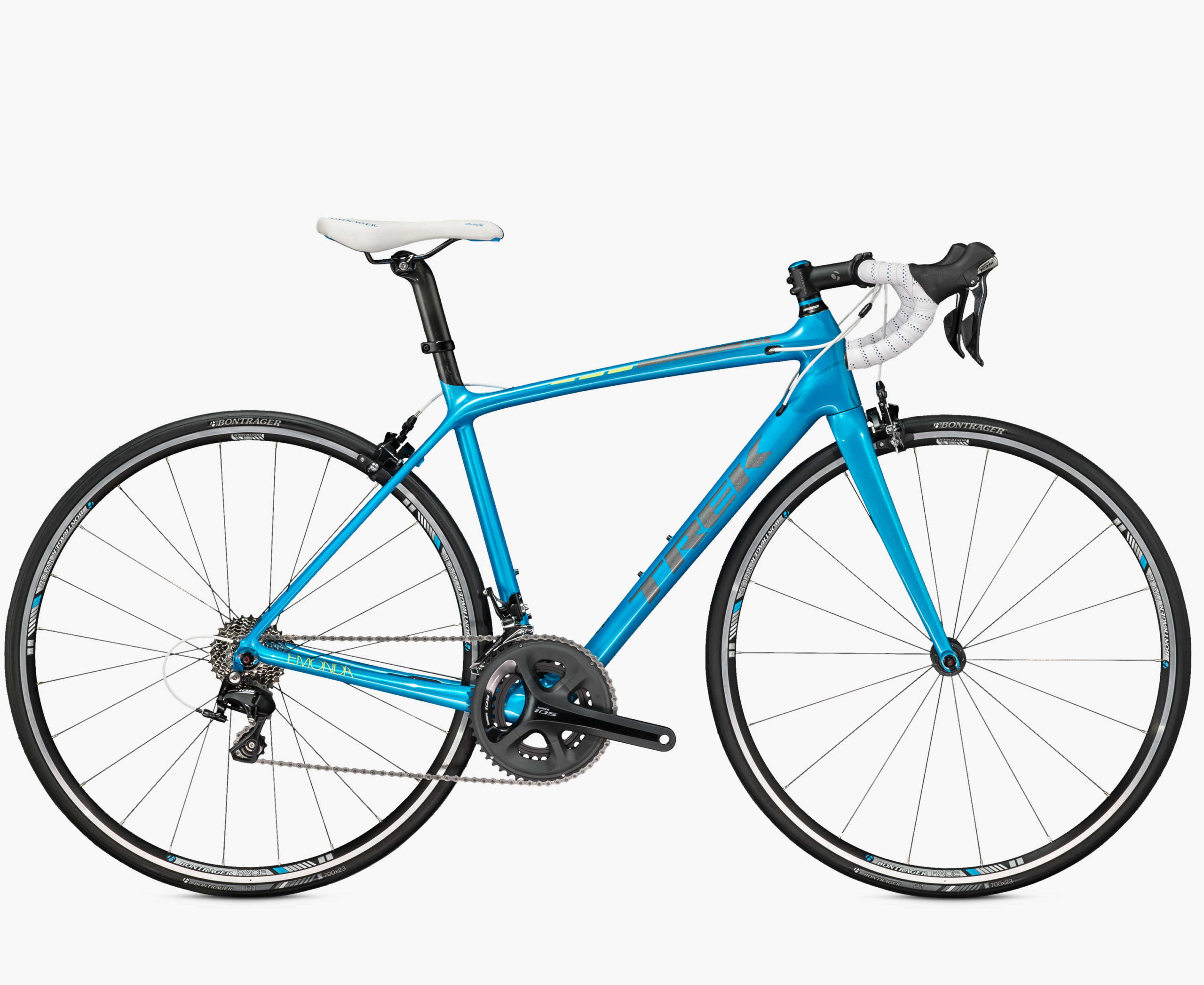 Trek Émonda SL 5 For the Émonda line Trek set out to create the lightest line of production road bikes ever offered. This super light and stiff high performance bike will take your riding to the next level and you won't have to take out another mortgage! Plus, how pretty is the Appleseed Blue?!