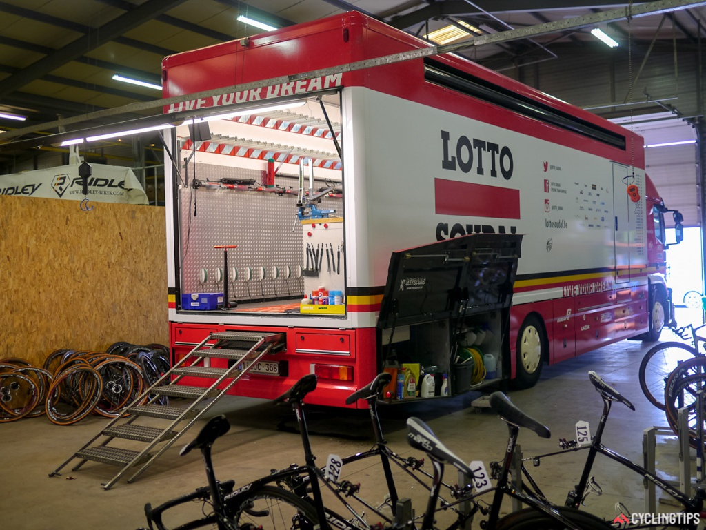 One of the team trucks, fully kitted out with a workshop and bike storage.  Every last corner of the truck is used to store everything from hose pipes to power generators.