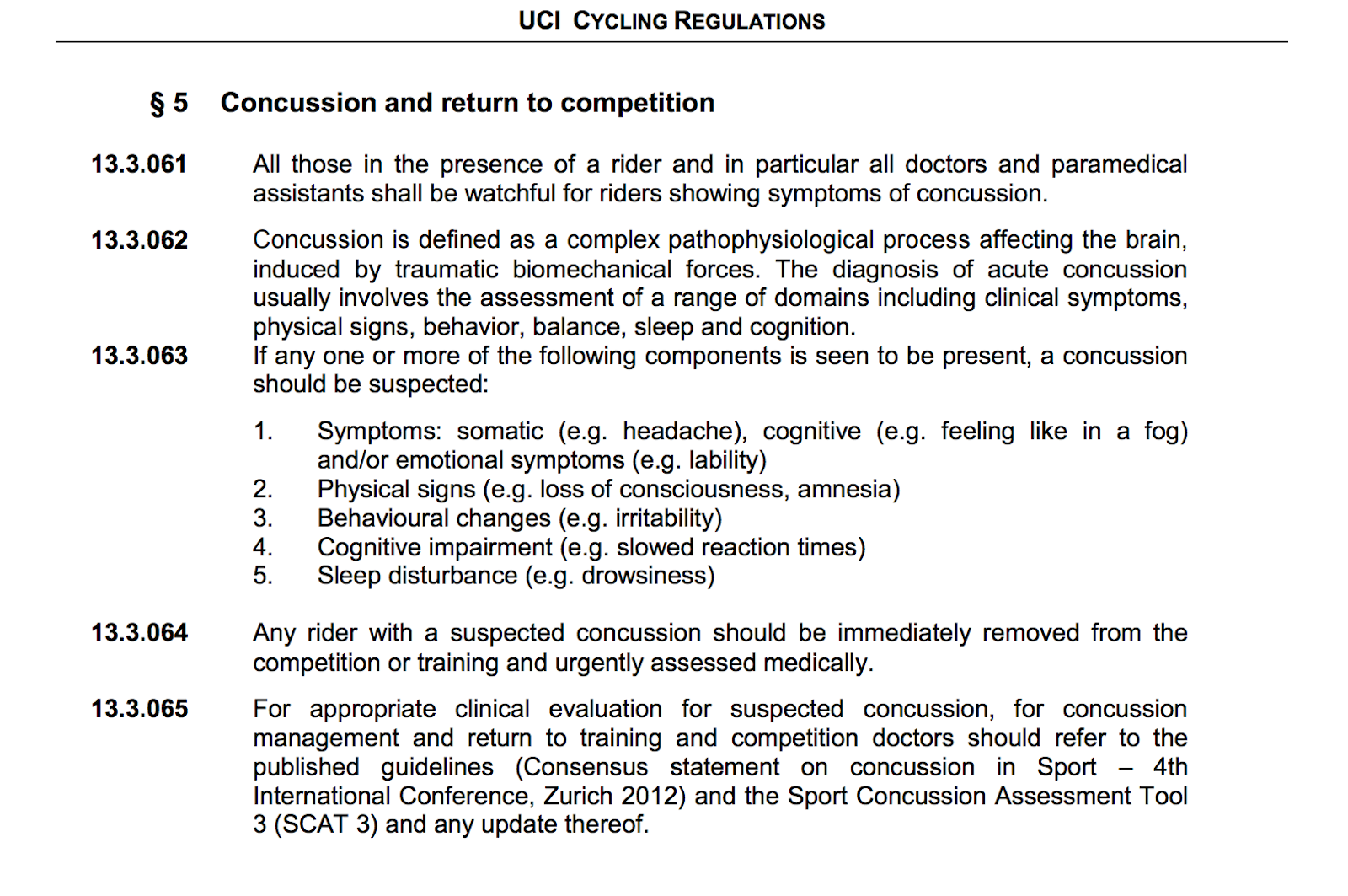 A screenshot from Section 13 of the UCI's 2015 Cycling Regulations, focusing on concussion and return to competition.