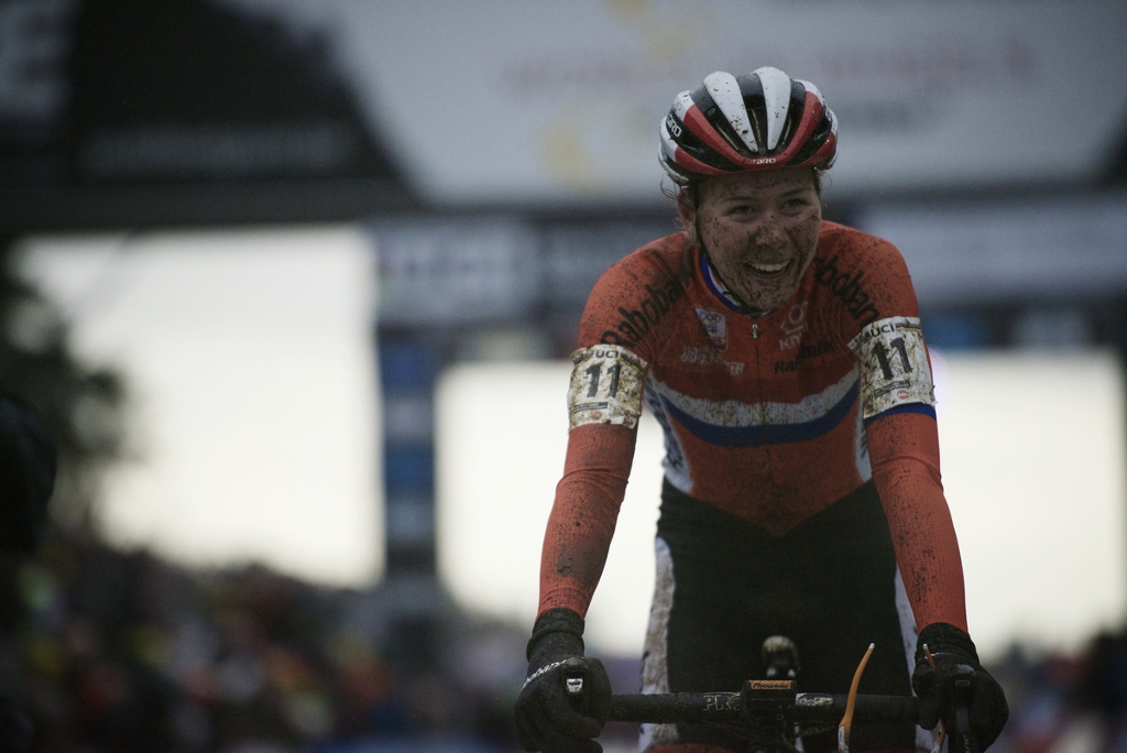 World Champion victory for Thalita Dejong (NLD/Rabo-Liv) crossing the finish line Elite Women's race UCI 2016 cyclocross World Championships