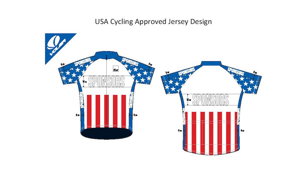 USA Cycling's approved jersey design template, which all teams have a copy of.