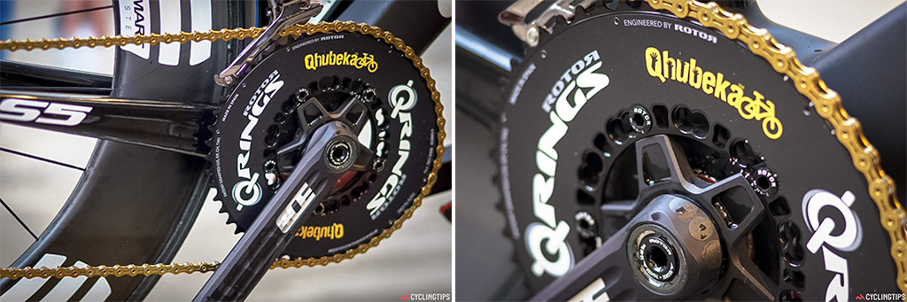 KMC chains are fitted to Rotor chainrings on the Cervelos ridden by MTN-Qhubeka.