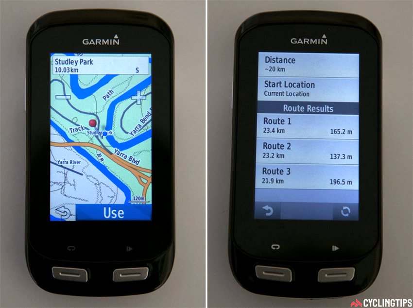 Two ways of selecting where you want to go: dropping a pin on the map as part of the route planner (left), and choosing one of three ride options with round-trip routing (right).