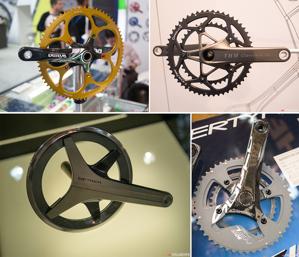 Bottom left: Though not exactly road-orientated, Shimano had a prototype commuting groupset on show. The Metrea had a look as though it was made for the classic film Metropolis. Bottom left: 698grams and carbon/alloy. Not ground-breaking but something a bit different than the usual cranks out there.