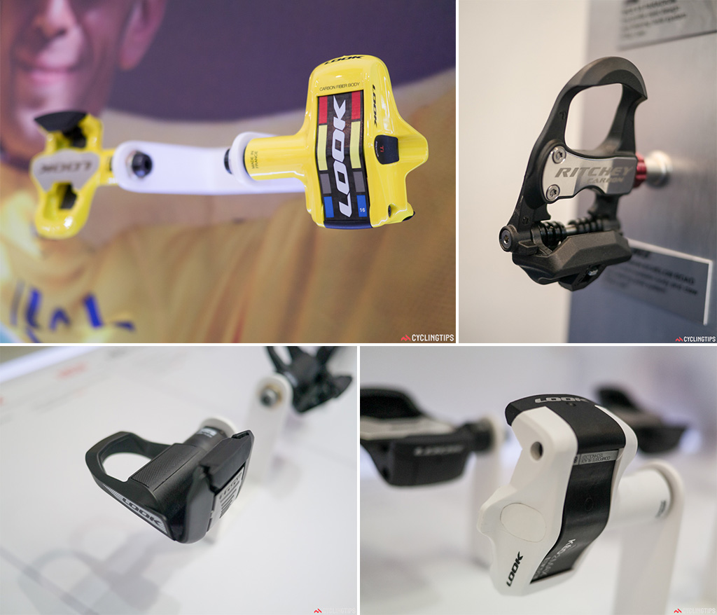 Top left: Updated and at a pedal weight of 120 grams,  the new Keo 2 max was used throughout the TdF. Top right: WCS carbon thermoplastic body and claw help get the new Richey pedals down to 220g a pair. Bottom left: Not all kit is aimed at the racing road cyclist. The Keo Flex 2 is a pedal for the beginner. It has a very light action to allow ease of entry.