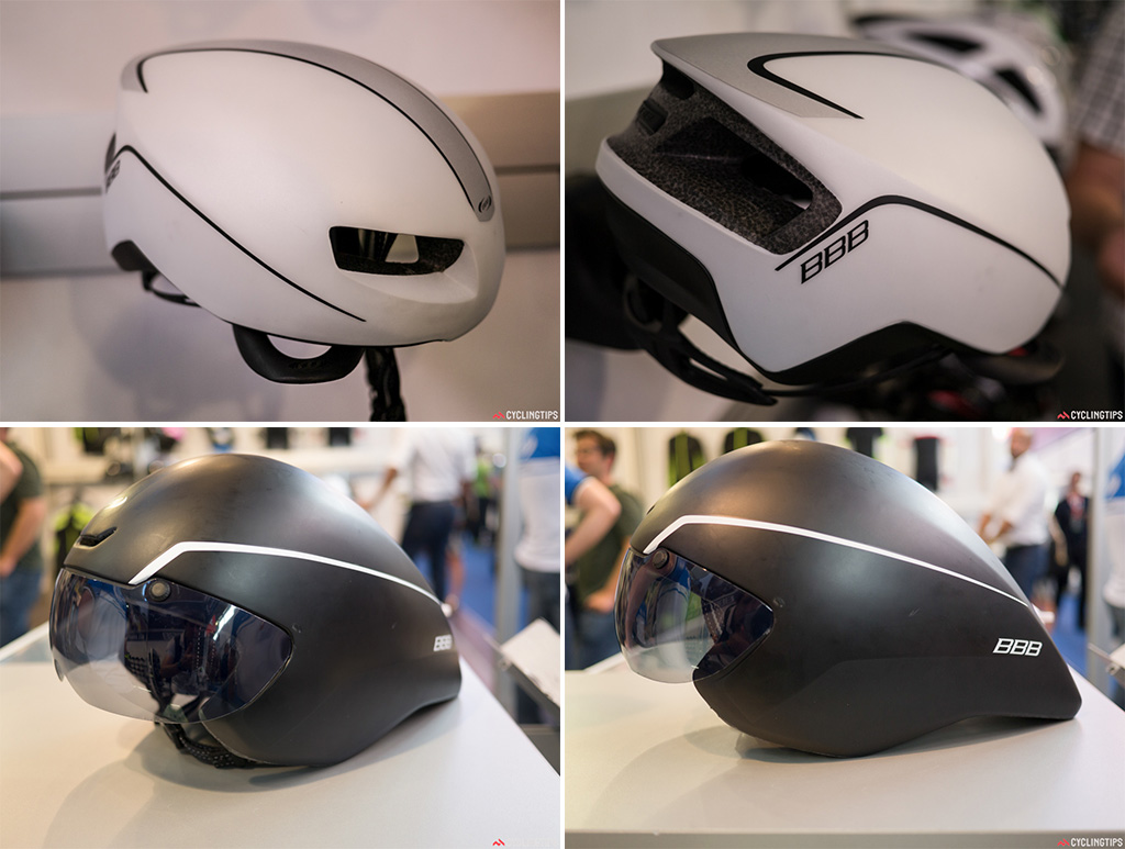 Top: BBB now has a road aero lid. The prototype was seen last year at Eurobike but now it's available to buy. BBB worked with the Advanced Embodiment Design team at the Technical University of Delft on designing this helmet. Bottom: BBB had updated their TT lid. The matt black may show up sticky fingers easily.