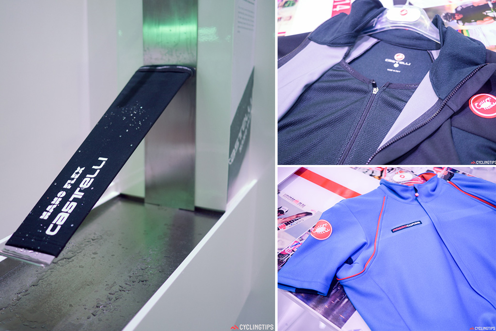 Left: Castelli were showing off how waterproof their Nanoflex fabric is by constantly running water on it for the four days the show was on. Right: A duel layering system allows a better control of the breathability of a winter jacket.