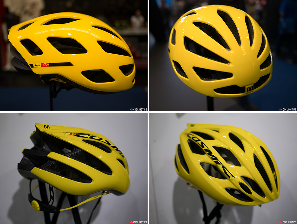 Aerodynamic and with great ventilation, the new Mavic aero road lid (top) weighs 250g for a medium. Taking its name from the Cosmic wheel range the new lid (bottom) is lighter than Mavic's previous Plasma helmets -- 210g for a medium. 26 vents keep your head cool.