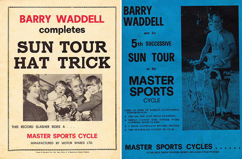 Left: Rear cover of The Australian Cyclist Magazine, Nov 1966. Right: Rear cover of The Australian Cyclist Magazine, 1968. Waddell was a bike mechanic at Master Sports Cycles.