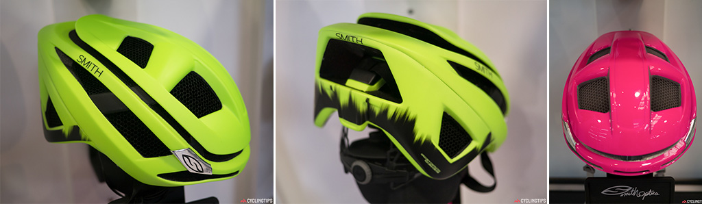 Right: This is Smith's first road helmet. It is said to be just a shade slower in the wind tunnel than a Specialized Evade, yet reportedly has far superior ventilation at any speed due to the Koroyd construction. Left and centre: Due to it using Koroyd as a main building block in the helmet it makes for a much more compact design. Being designed by what is primarily an eyewear brand they have worked on making the helmet have an excellent field of view.