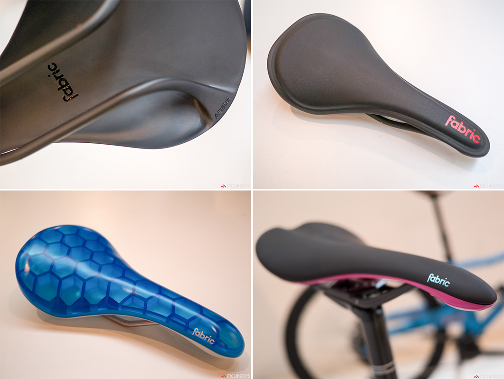A selection of Fabric's saddles. Bottom left: Though not available yet Fabric is working on an air-celled saddle. It currently is a bit on the heavy side. Production and development is via a high end sneaker producer.
