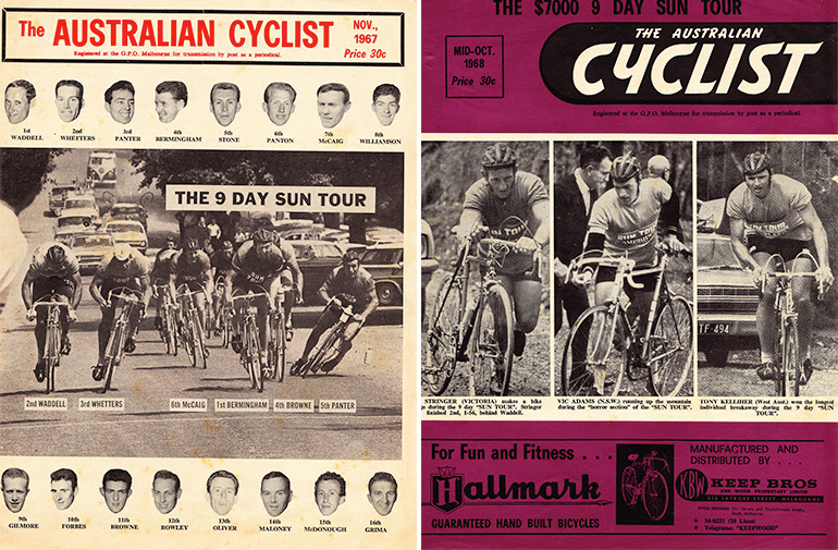 Left: Bob Panter's bike broke in half a few yards from the finish of the Lilydale stage finish on the final day of the nine-day Sun Tour of Victoria in 1967 (The Australian Cyclist Magazine, Nov 1967). Right: Cover of The Australian Cyclist, Oct 1968.