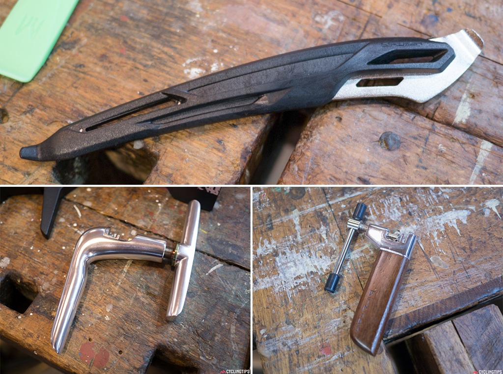 Top: It's just a tyre lever but a great looking one. Bottom left: It's not often that a chain splitter makes me stop. But the Bizman tool looks great and well made. Bottom right: If you can't stretch to the price of the full alloy, Bizman chainsplitter, then how about this lovely looking wooden version?