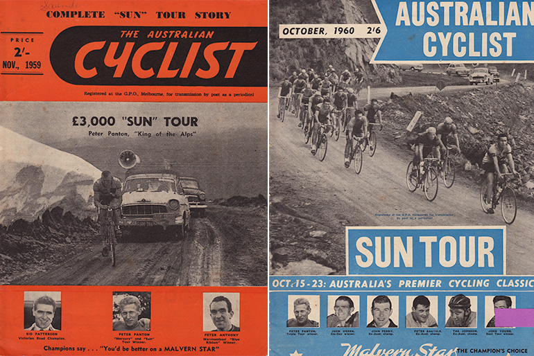 Left: Peter Panton climbs the last few feet of Mt Hotham during the 1959 Sun Tour. (Image: Australian Cyclist Nov 1959, Sun News Pictorial Picture). Right: 1960 Sun Tour riders descending Mt. Hotham (Australian Cyclist Oct 1960, Sun Picture)