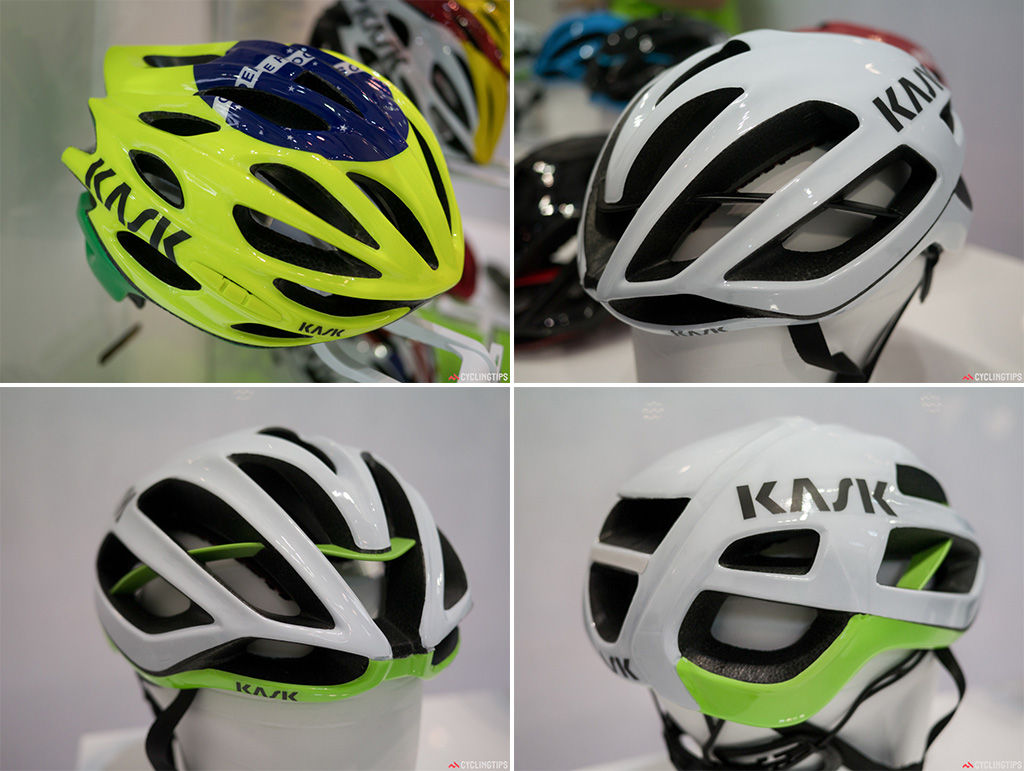 Top left: Kask wasn't to be outdone on the bright colour schemes. This helmet boasts a Brazillian flavour. They had a whole host of team paint schemes on display. This was by far the one that stood out. Top right: Team Sky were using this new Protone helmet from Kask. We tried it on and can say it feels light. A claimed 210 grams. The usual high quality Kask build is still present. Bottom: The new Protune has some huge vents yet is claimed to be very aerodynamic.