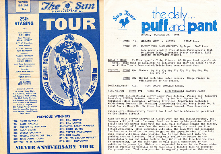 Left: 1976 Sun Tour program, which ran to four pages including teams, riders, officials. Right: 1976 Sun Tour stage running sheet which ran to two pages including information about lunch stops, sprints and climbs, stage finish procedure, previous stage results etc.