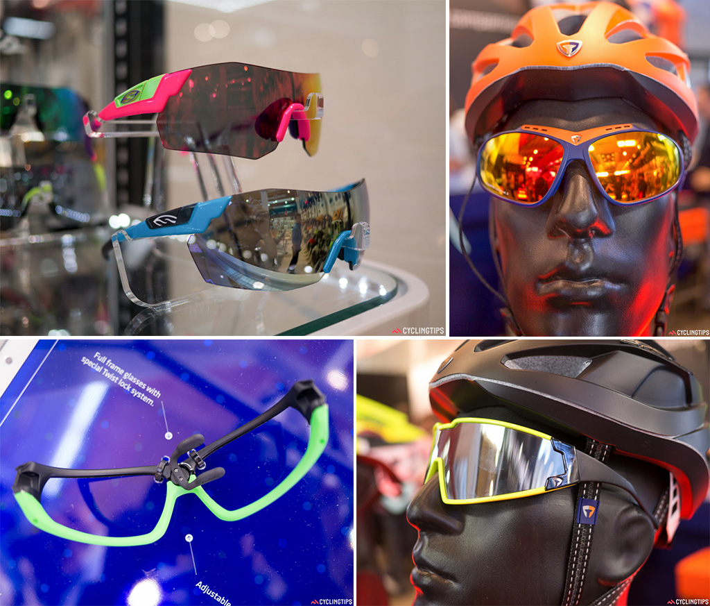 Some of the new sunglasses on show. Bottom left: The BBB Adapt special edition glasses have a split frame design. Twist the nose piece and it slightly opens the frame to allow lenses to be swapped out easily.