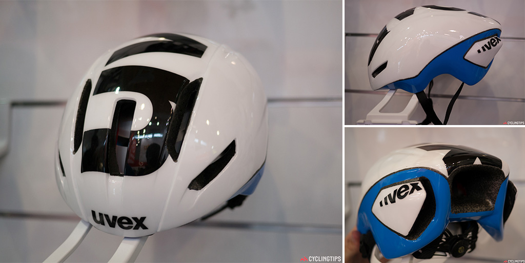 Uvex unveiled their new road aero helmet at Eurobike. A double in-mould shell has eight ventilation channels to keep the head cool.